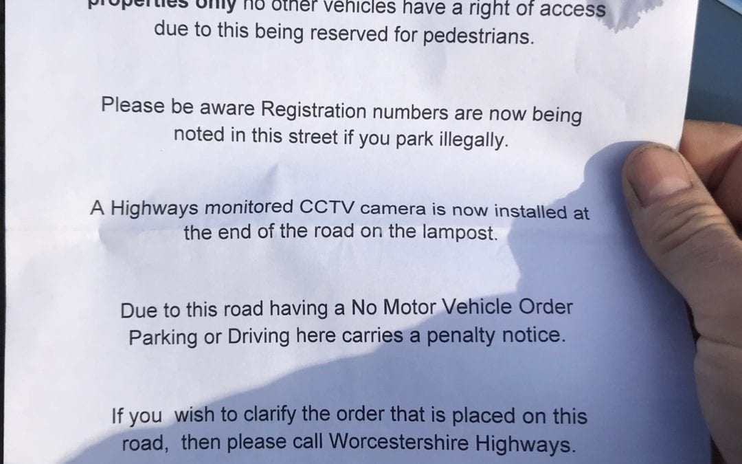 Fake Warning Tickets being Placed on Vehicles in Birmingham Road